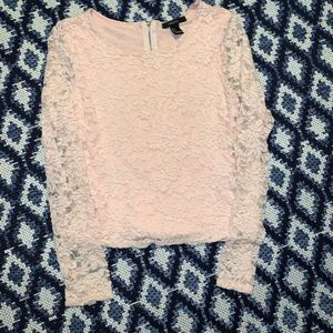 Pink lace and flowers long sleeve top